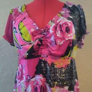 Lane Bryant 14/16 Pink Stretch Blouse